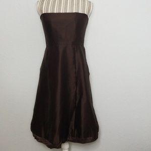 J. Crew Womens 6 Brown Silk Blend Strapless Dress